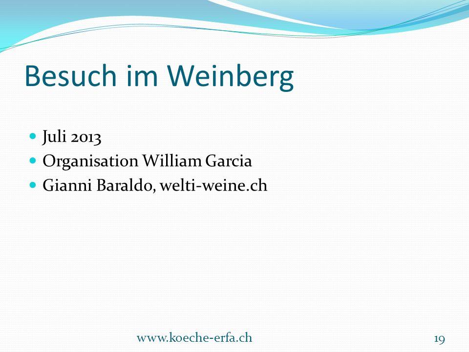 Besuch im Weinberg Juli 2013 Organisation William Garcia Gianni Baraldo, welti-weine.ch www.koeche-erfa.ch19