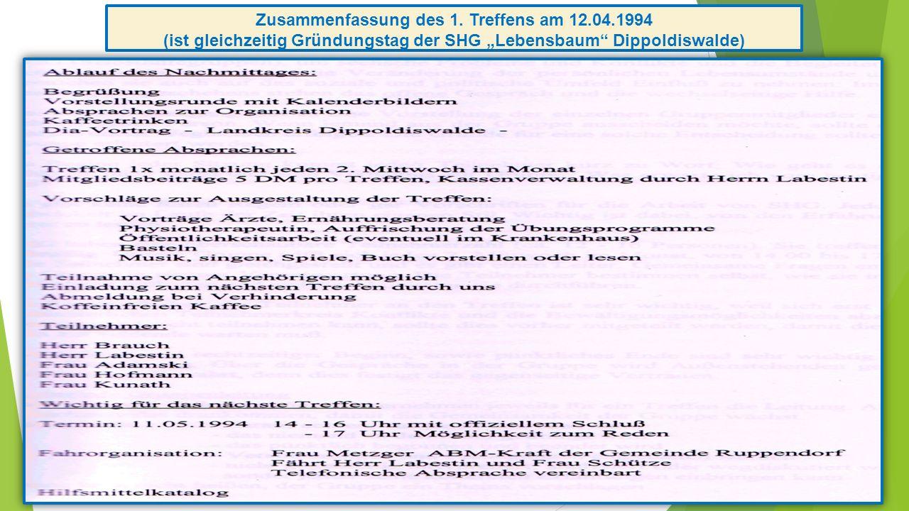 Zusammenfassung des 1. Treffens am 12.04.1994 (ist gleichzeitig Gründungstag der SHG Lebensbaum Dippoldiswalde)