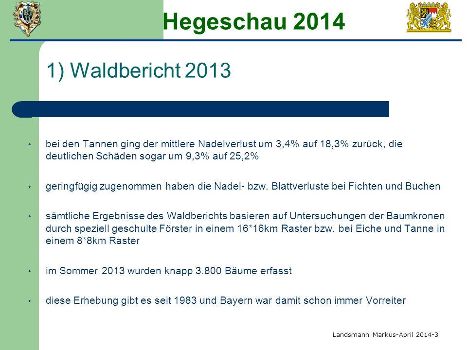 Hegeschau 2014 1) Waldbericht 2013 bei den Tannen ging der mittlere Nadelverlust um 3,4% auf 18,3% zurück, die deutlichen Schäden sogar um 9,3% auf 25,2% geringfügig zugenommen haben die Nadel- bzw.
