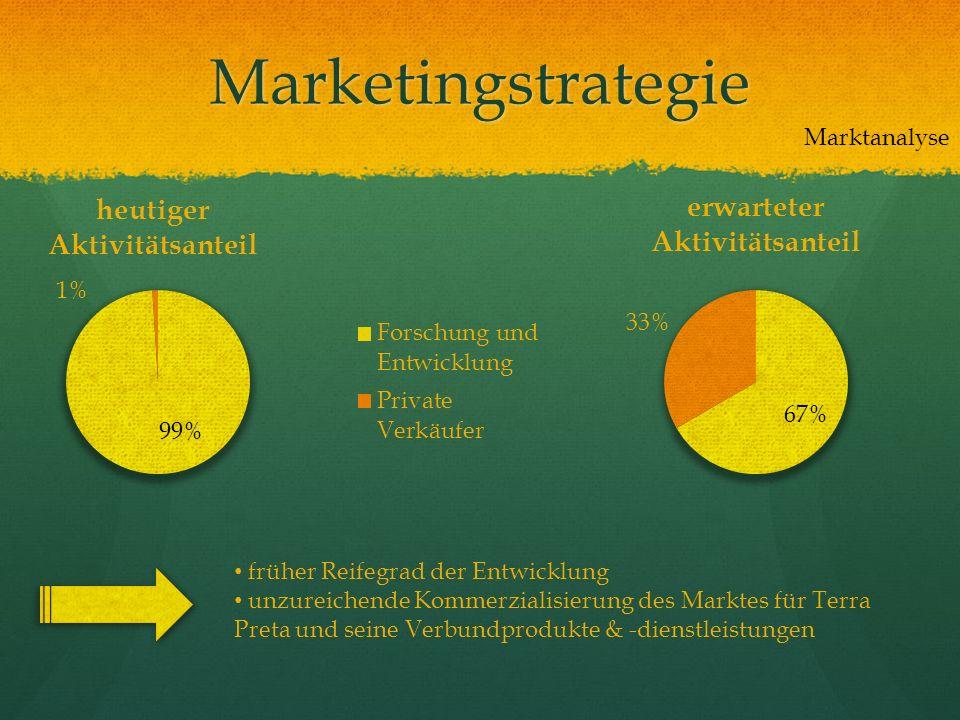 Marketingstrategie früher Reifegrad der Entwicklung unzureichende Kommerzialisierung des Marktes für Terra Preta und seine Verbundprodukte & -dienstle