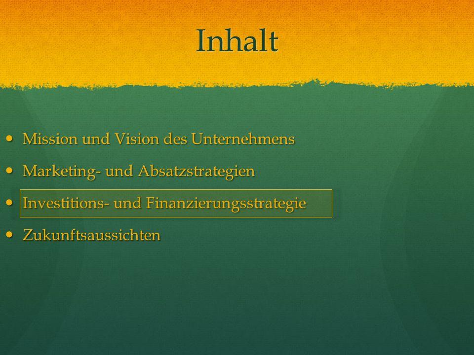 Inhalt Mission und Vision des Unternehmens Mission und Vision des Unternehmens Marketing- und Absatzstrategien Marketing- und Absatzstrategien Investi