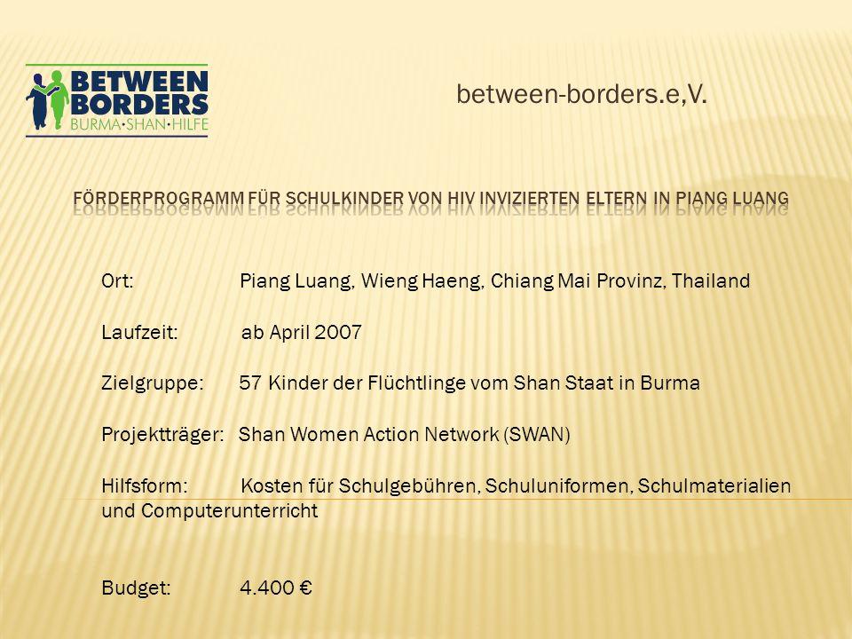 between-borders.e,V. Ort: Piang Luang, Wieng Haeng, Chiang Mai Provinz, Thailand Laufzeit: ab April 2007 Zielgruppe: 57 Kinder der Flüchtlinge vom Sha