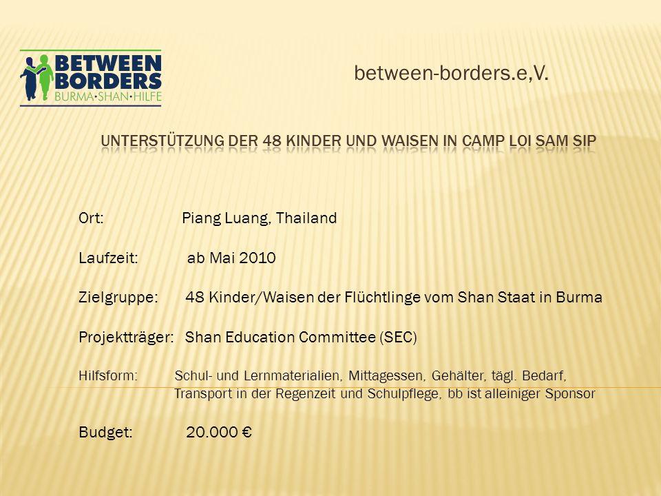 between-borders.e,V. Ort: Piang Luang, Thailand Laufzeit: ab Mai 2010 Zielgruppe: 48 Kinder/Waisen der Flüchtlinge vom Shan Staat in Burma Projektträg