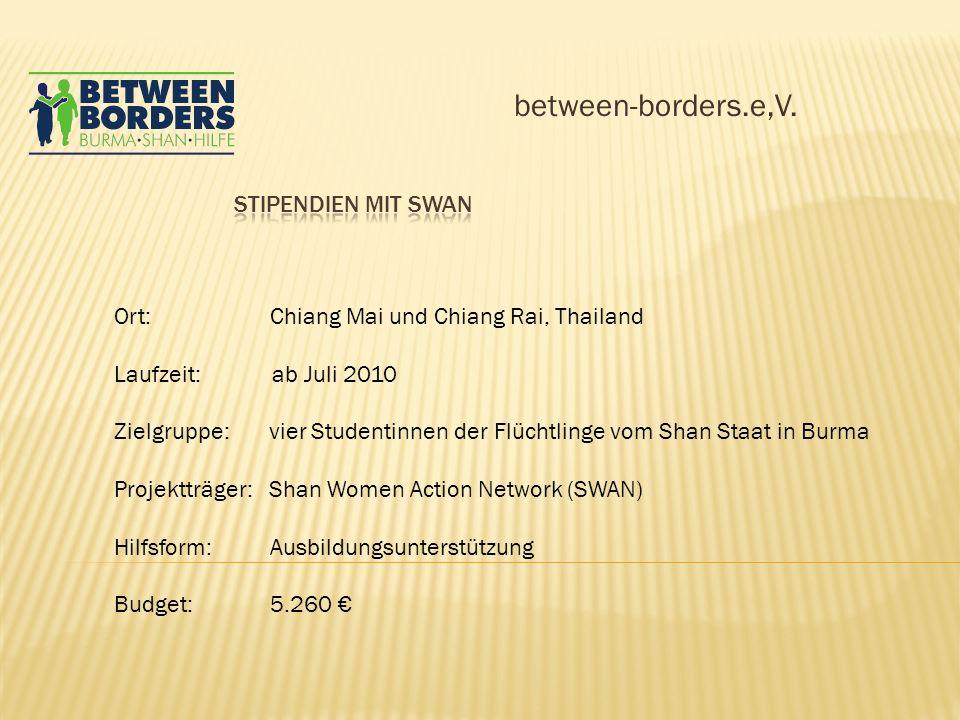 between-borders.e,V. Ort: Chiang Mai und Chiang Rai, Thailand Laufzeit: ab Juli 2010 Zielgruppe: vier Studentinnen der Flüchtlinge vom Shan Staat in B