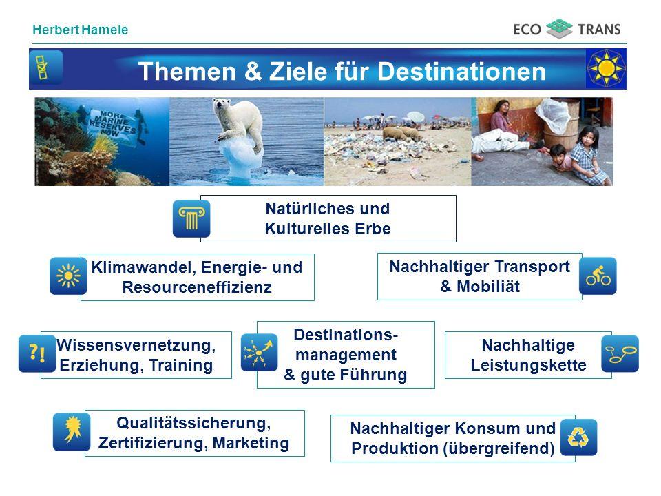 Herbert Hamele Themen & Ziele für Destinationen Wissensvernetzung, Erziehung, Training Nachhaltige Leistungskette Klimawandel, Energie- und Resourcene