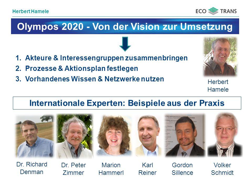 Herbert Hamele 1.Akteure & Interessengruppen zusammenbringen 2.Prozesse & Aktionsplan festlegen 3.Vorhandenes Wissen & Netzwerke nutzen Dr. Richard De