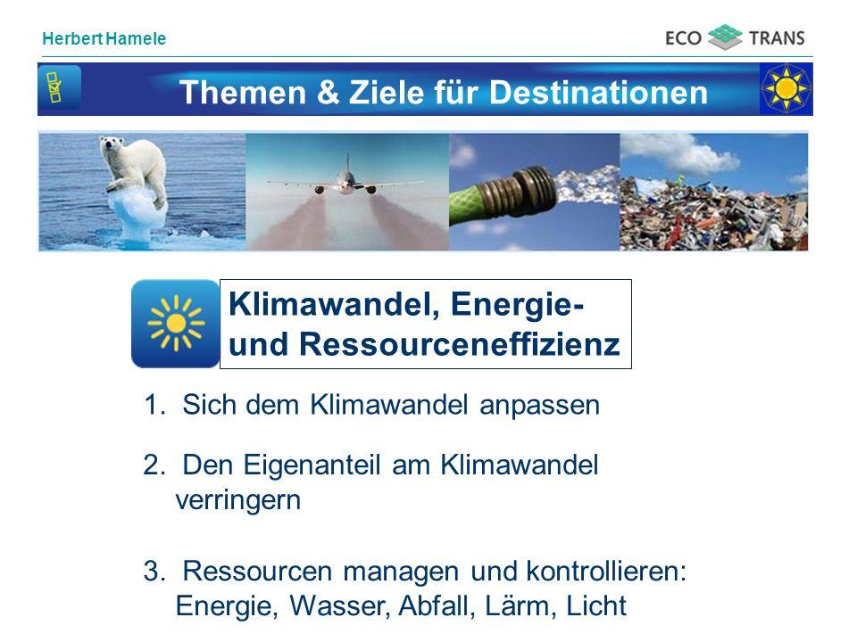 Herbert Hamele Themen & Ziele für Destinationen Klimawandel, Energie- und Ressourceneffizienz 1. Sich dem Klimawandel anpassen 2. Den Eigenanteil am K