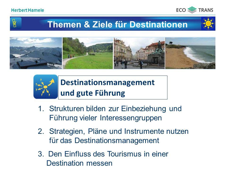 Herbert Hamele Themen & Ziele für Destinationen Destinationsmanagement und gute Führung 1.Strukturen bilden zur Einbeziehung und Führung vieler Intere