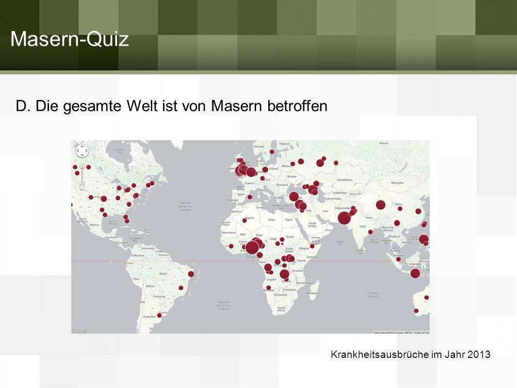 D. Die gesamte Welt ist von Masern betroffen Krankheitsausbrüche im Jahr 2013 Masern-Quiz