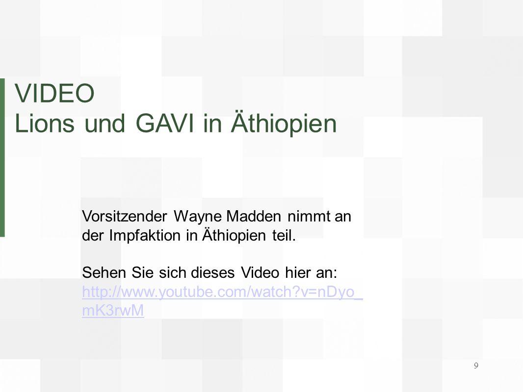 VIDEO Lions und GAVI in Äthiopien Vorsitzender Wayne Madden nimmt an der Impfaktion in Äthiopien teil. Sehen Sie sich dieses Video hier an: http://www