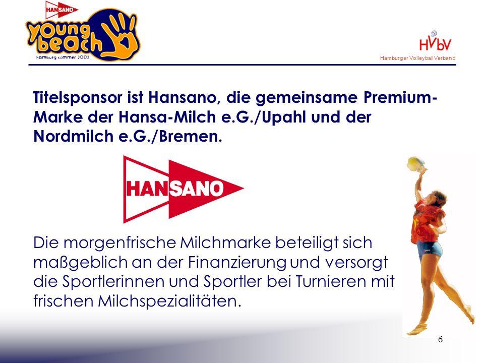 Hamburger Volleyball Verband 7 Sachsponsoren tragen zur hohen Qualität der Turnierveranstaltungen bei.