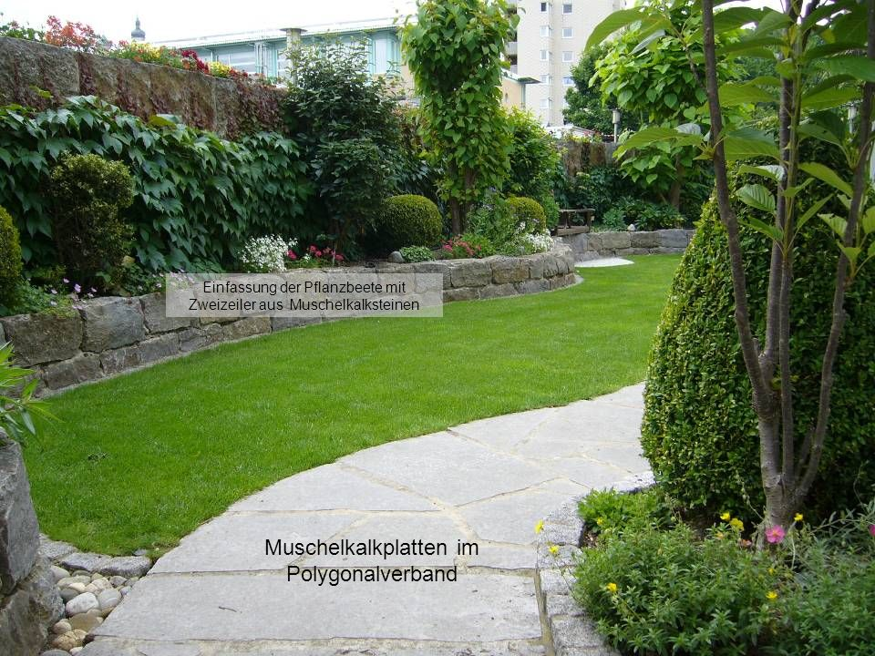 Mauer mit Krustenplatten aus Muschelkalk incl. Hohlraum für blühende Saisonbepflanzung