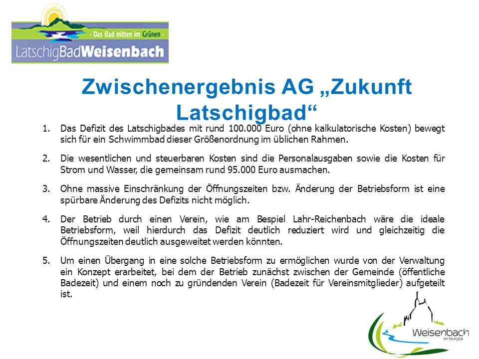 Zwischenergebnis AG Zukunft Latschigbad 1.Das Defizit des Latschigbades mit rund 100.000 Euro (ohne kalkulatorische Kosten) bewegt sich für ein Schwim