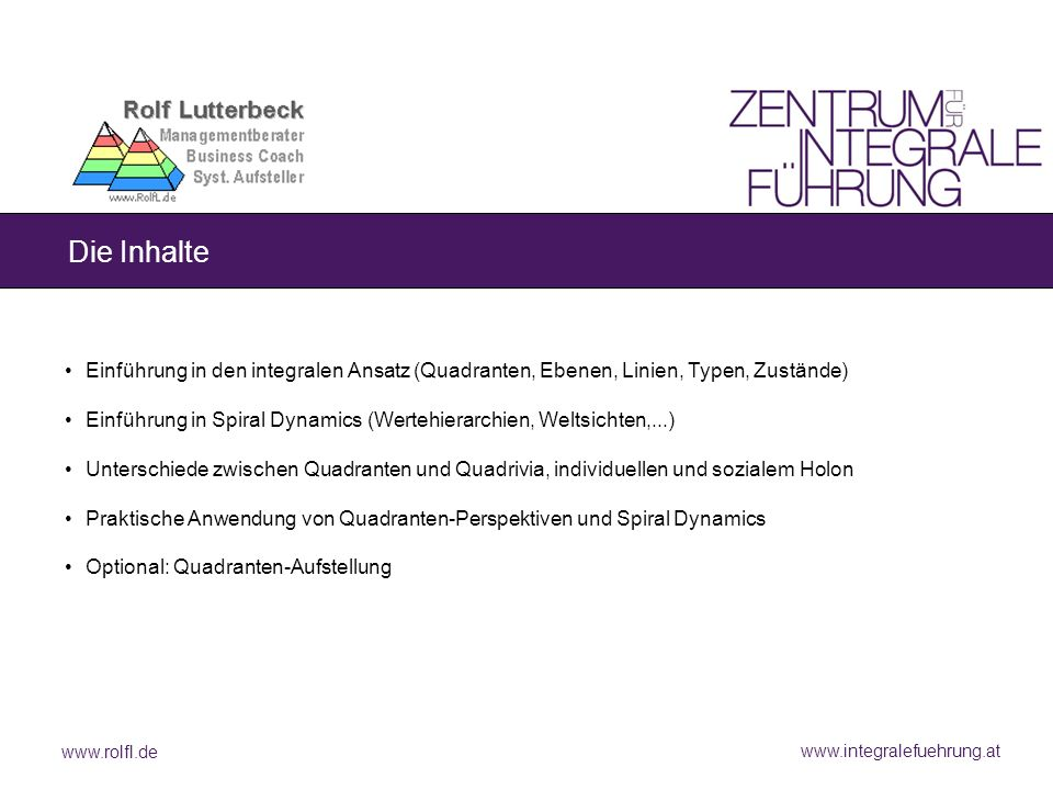 www.rolfl.de www.integralefuehrung.at Die Inhalte Einführung in den integralen Ansatz (Quadranten, Ebenen, Linien, Typen, Zustände) Einführung in Spir