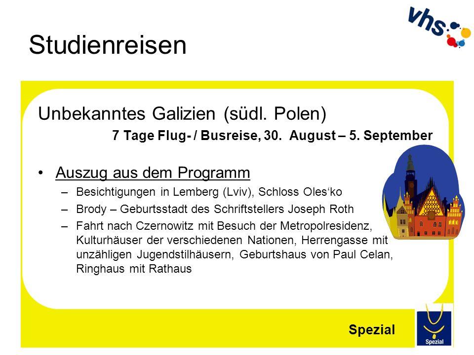 Studienreisen Unbekanntes Galizien (südl. Polen) 7 Tage Flug- / Busreise, 30. August – 5. September Auszug aus dem Programm –Besichtigungen in Lemberg
