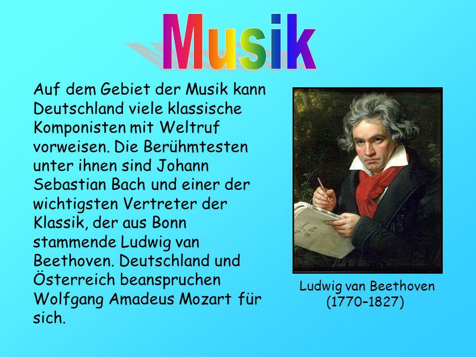 Auf dem Gebiet der Musik kann Deutschland viele klassische Komponisten mit Weltruf vorweisen. Die Berühmtesten unter ihnen sind Johann Sebastian Bach