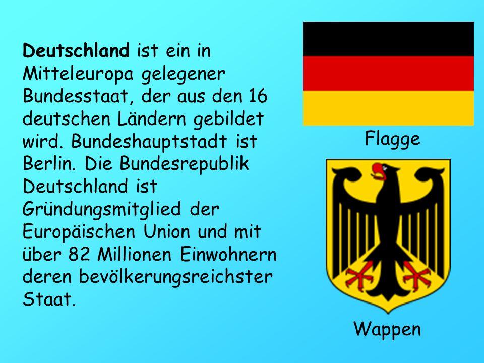 Deutschland ist ein in Mitteleuropa gelegener Bundesstaat, der aus den 16 deutschen Ländern gebildet wird. Bundeshauptstadt ist Berlin. Die Bundesrepu