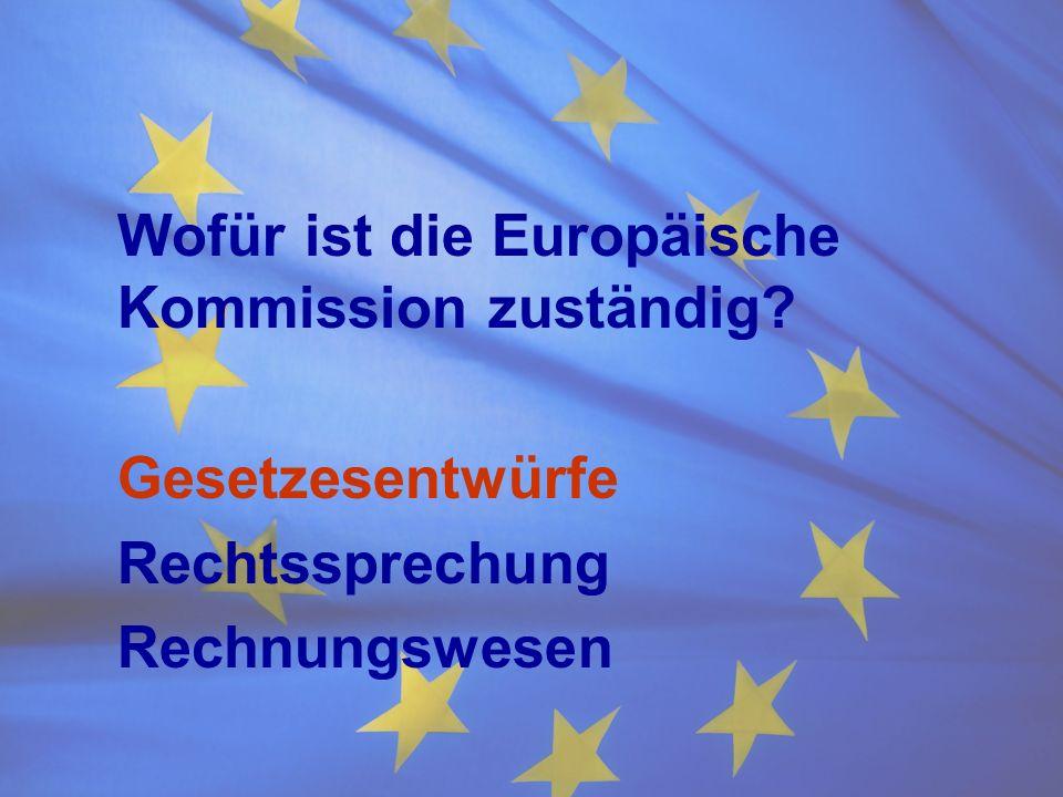 Wofür ist die Europäische Kommission zuständig? Gesetzesentwürfe Rechtssprechung Rechnungswesen