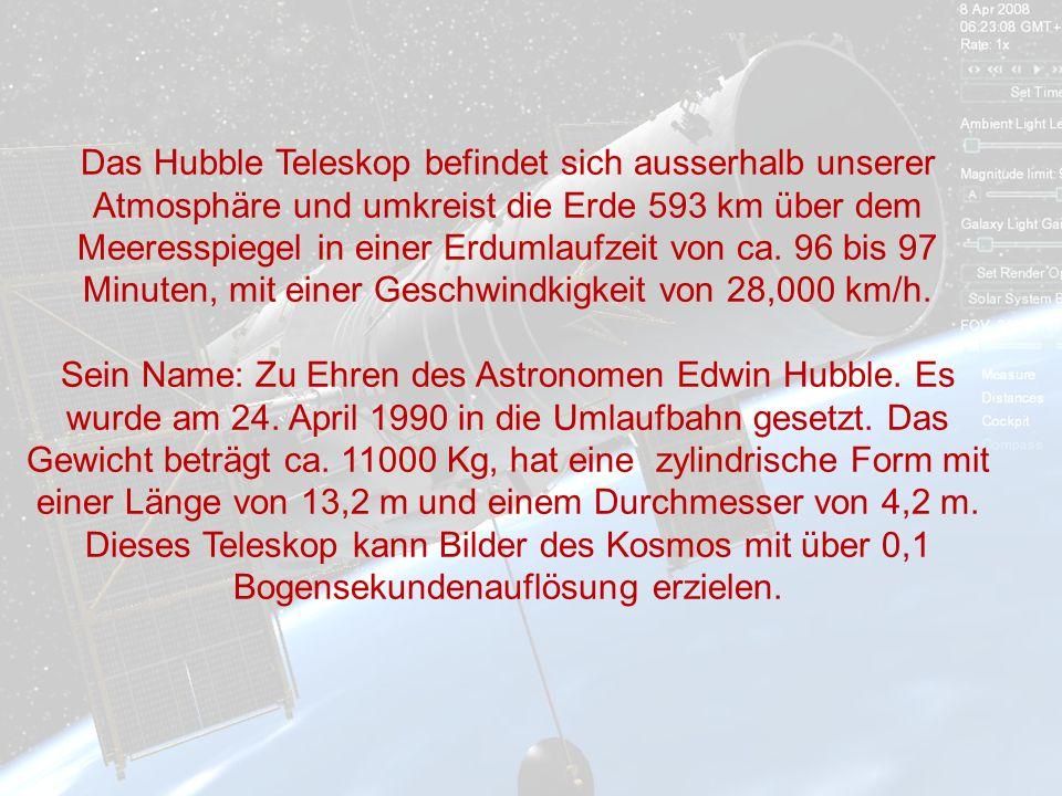 Das Hubble Teleskop befindet sich ausserhalb unserer Atmosphäre und umkreist die Erde 593 km über dem Meeresspiegel in einer Erdumlaufzeit von ca.