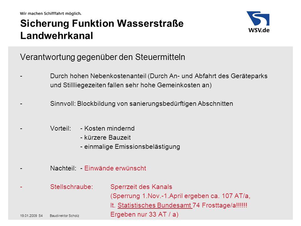 Baudirektor Scholz19.01.2009S5 Sicherung Funktion Wasserstraße Landwehrkanal Realisierung Blockmodell: siehe Bauzeitenanalyse Rahmenbedingungen:Bauzeitenanalyse 1.- 230 Arbeitstage im Jahr 2.- kontinuierliche Vorplanung mit evtl.