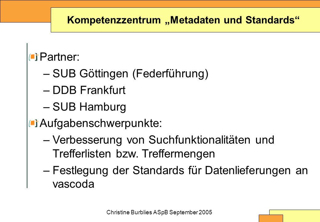 Christine Burblies ASpB September 2005 Kompetenzzentrum Metadaten und Standards Partner: –SUB Göttingen (Federführung) –DDB Frankfurt –SUB Hamburg Aufgabenschwerpunkte: –Verbesserung von Suchfunktionalitäten und Trefferlisten bzw.