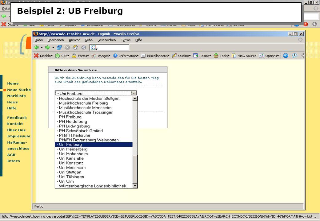 Christine Burblies ASpB September 2005 Beispiel 2: UB Freiburg