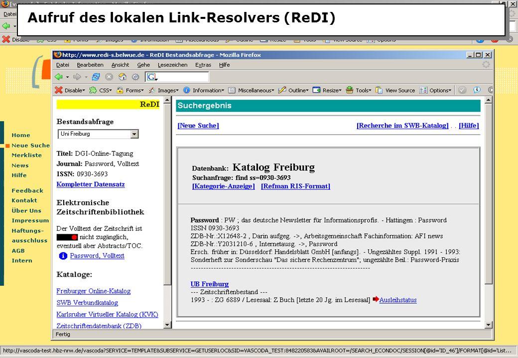 Christine Burblies ASpB September 2005 Aufruf des lokalen Link-Resolvers (ReDI)