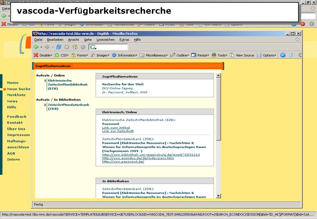 Christine Burblies ASpB September 2005 vascoda-Verf ü gbarkeitsrecherche