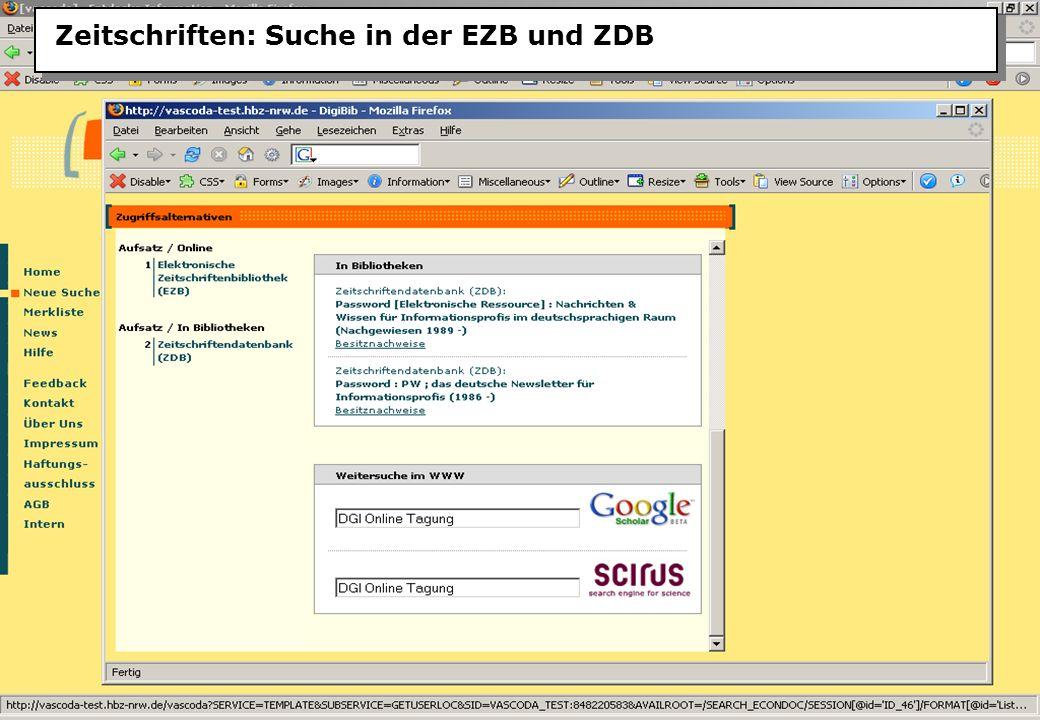 Christine Burblies ASpB September 2005 Zeitschriften: Suche in der EZB und ZDB