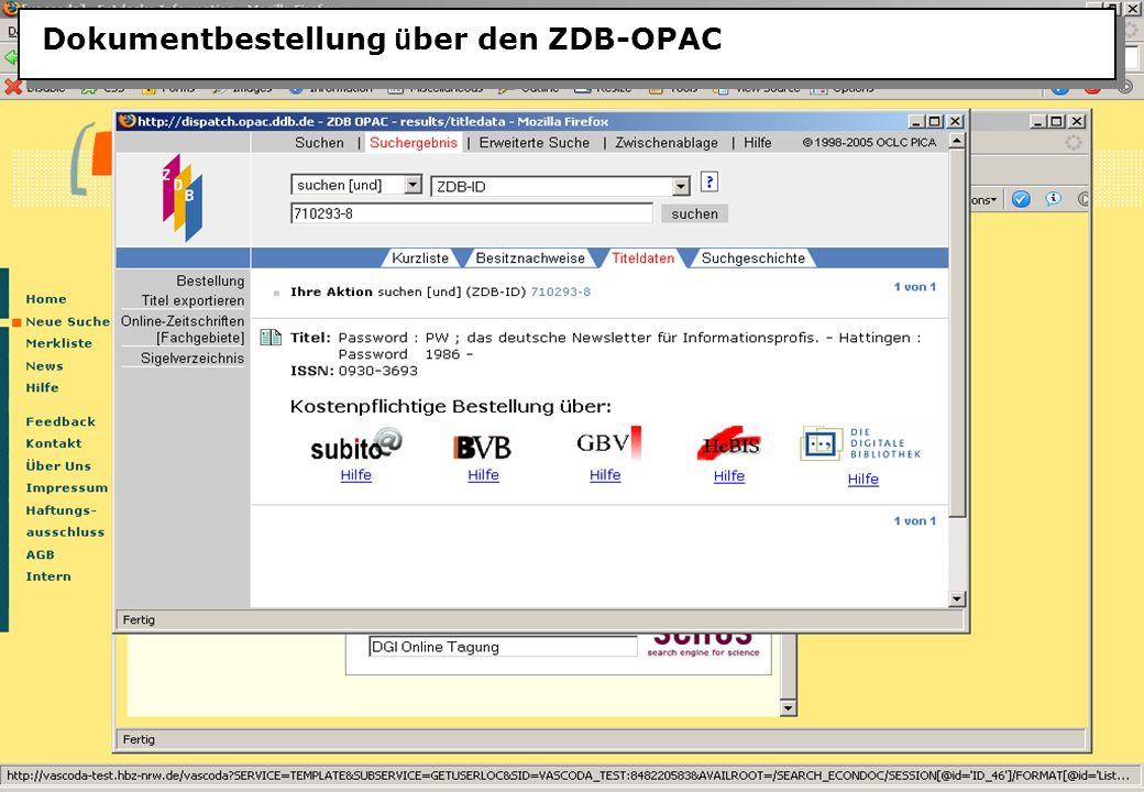 Christine Burblies ASpB September 2005 Dokumentbestellung ü ber den ZDB-OPAC