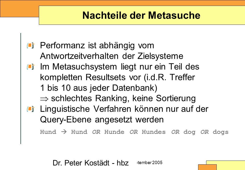 Christine Burblies ASpB September 2005 Nachteile der Metasuche Performanz ist abhängig vom Antwortzeitverhalten der Zielsysteme Im Metasuchsystem liegt nur ein Teil des kompletten Resultsets vor (i.d.R.
