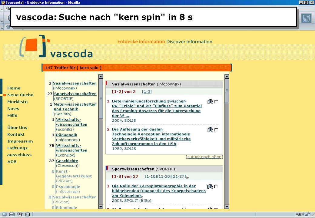 Christine Burblies ASpB September 2005 vascoda: Suche nach kern spin in 8 s