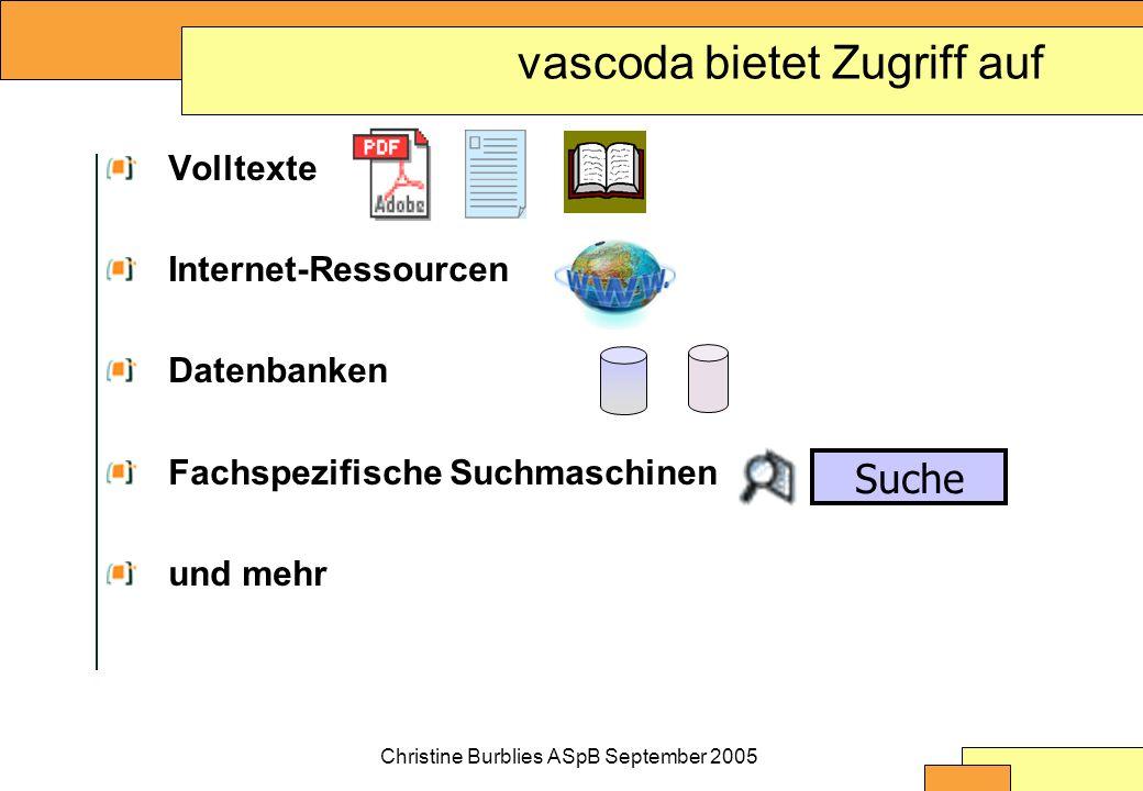 Christine Burblies ASpB September 2005 vascoda bietet Zugriff auf Volltexte Internet-Ressourcen Datenbanken Fachspezifische Suchmaschinen und mehr Suche