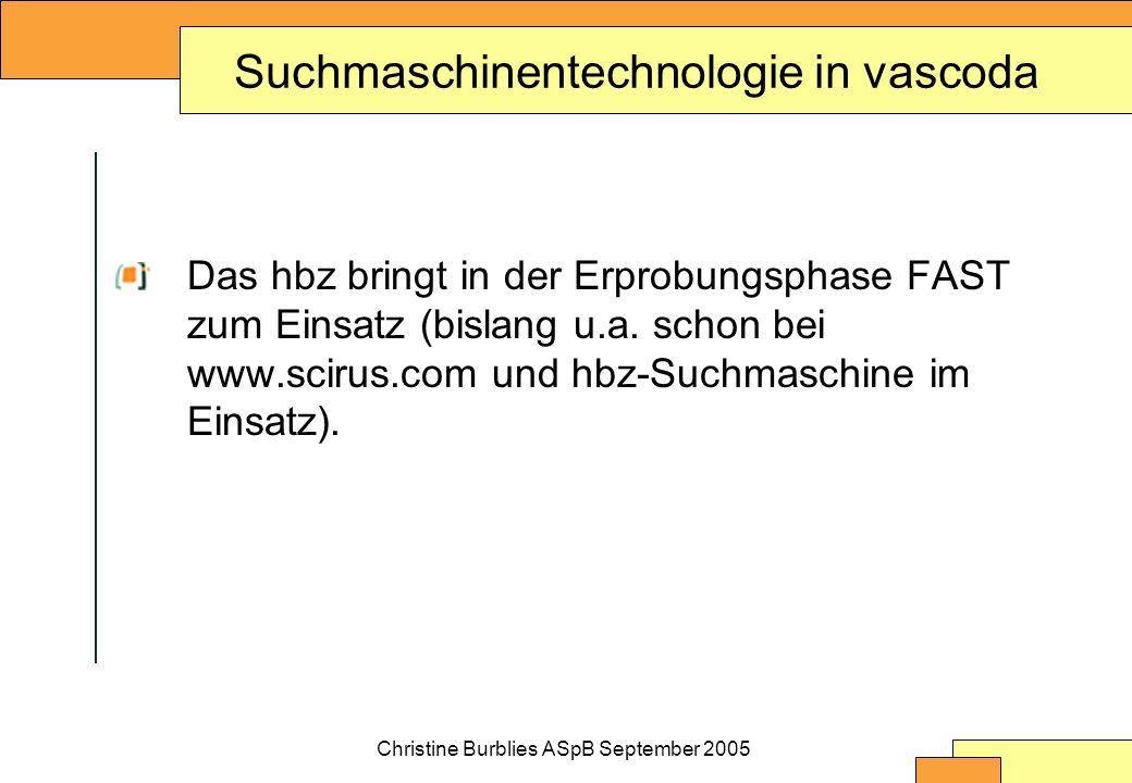 Christine Burblies ASpB September 2005 Suchmaschinentechnologie in vascoda Das hbz bringt in der Erprobungsphase FAST zum Einsatz (bislang u.a.