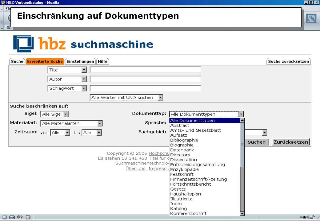 Christine Burblies ASpB September 2005 Einschr ä nkung auf Dokumenttypen