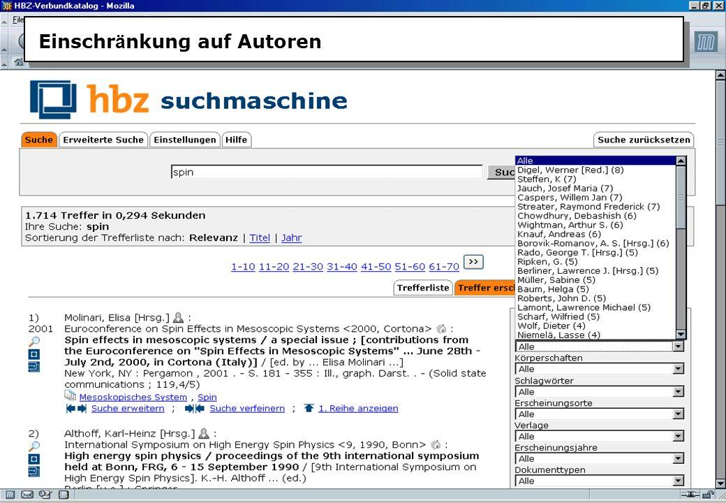 Christine Burblies ASpB September 2005 Einschr ä nkung auf Autoren