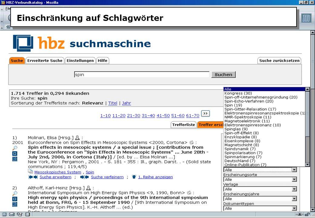 Christine Burblies ASpB September 2005 Einschr ä nkung auf Schlagw ö rter
