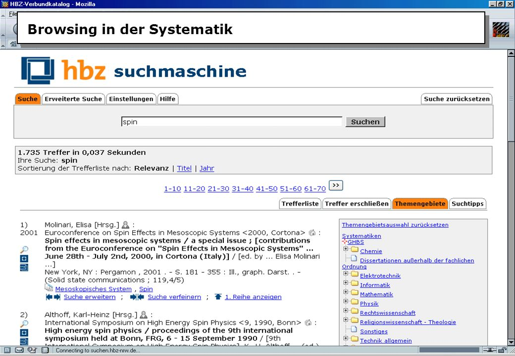 Christine Burblies ASpB September 2005 Browsing in der Systematik