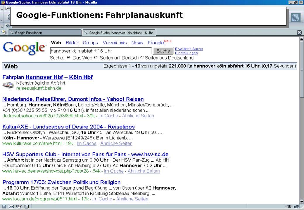 Christine Burblies ASpB September 2005 Google-Funktionen: Fahrplanauskunft