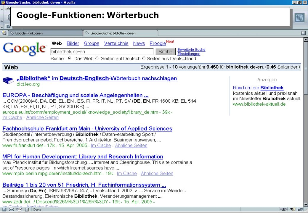 Christine Burblies ASpB September 2005 Google-Funktionen: W ö rterbuch