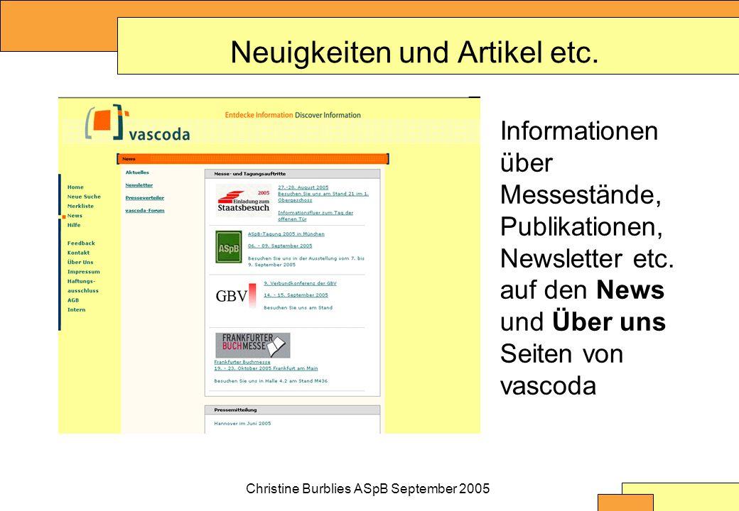 Christine Burblies ASpB September 2005 Neuigkeiten und Artikel etc.