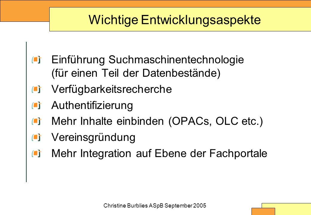 Wichtige Entwicklungsaspekte Einführung Suchmaschinentechnologie (für einen Teil der Datenbestände) Verfügbarkeitsrecherche Authentifizierung Mehr Inhalte einbinden (OPACs, OLC etc.) Vereinsgründung Mehr Integration auf Ebene der Fachportale