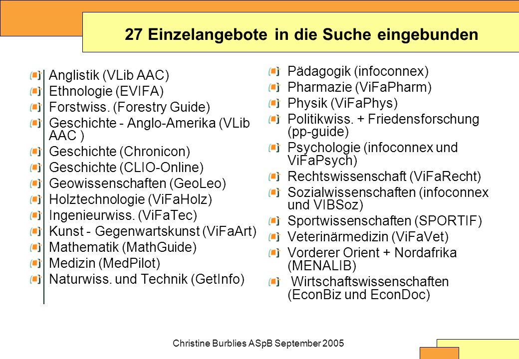 Christine Burblies ASpB September 2005 Anglistik (VLib AAC) Ethnologie (EVIFA) Forstwiss.