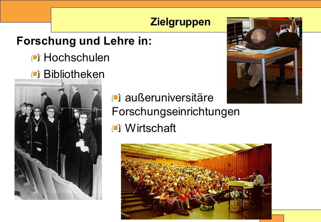 Christine Burblies ASpB September 2005 Forschung und Lehre in: Hochschulen Bibliotheken Zielgruppen außeruniversitäre Forschungseinrichtungen Wirtschaft