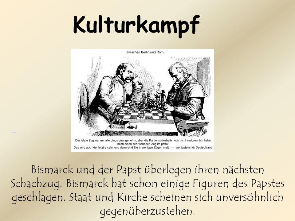Bismarck und der Papst überlegen ihren nächsten Schachzug.