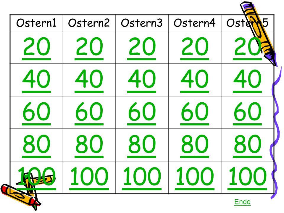 Ostern1Ostern2Ostern3Ostern4Ostern5 20 40 60 80 100 Ende