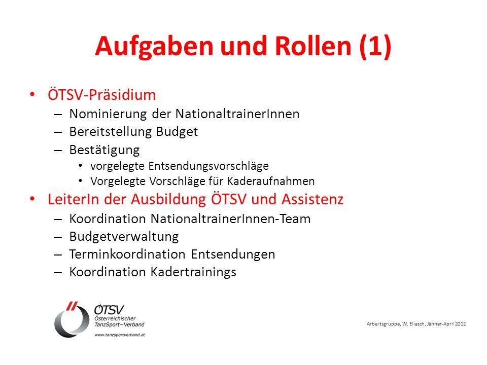 Arbeitsgruppe, W. Eliasch, Jänner-April 2012 Aufgaben und Rollen (1) ÖTSV-Präsidium – Nominierung der NationaltrainerInnen – Bereitstellung Budget – B
