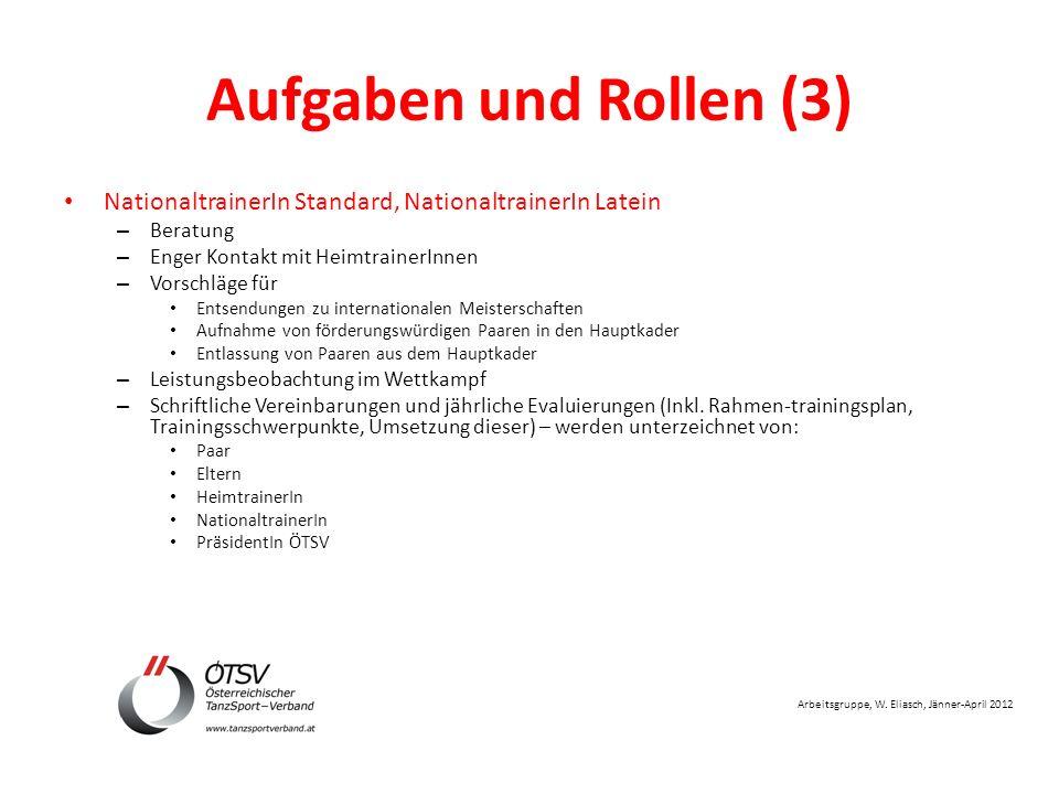 Arbeitsgruppe, W. Eliasch, Jänner-April 2012 Aufgaben und Rollen (3) NationaltrainerIn Standard, NationaltrainerIn Latein – Beratung – Enger Kontakt m