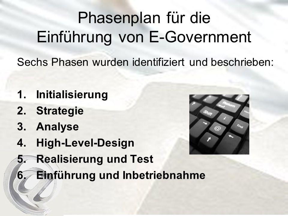Phasenplan für die Einführung von E-Government Sechs Phasen wurden identifiziert und beschrieben: 1.Initialisierung 2.Strategie 3.Analyse 4.High-Level-Design 5.Realisierung und Test 6.Einführung und Inbetriebnahme