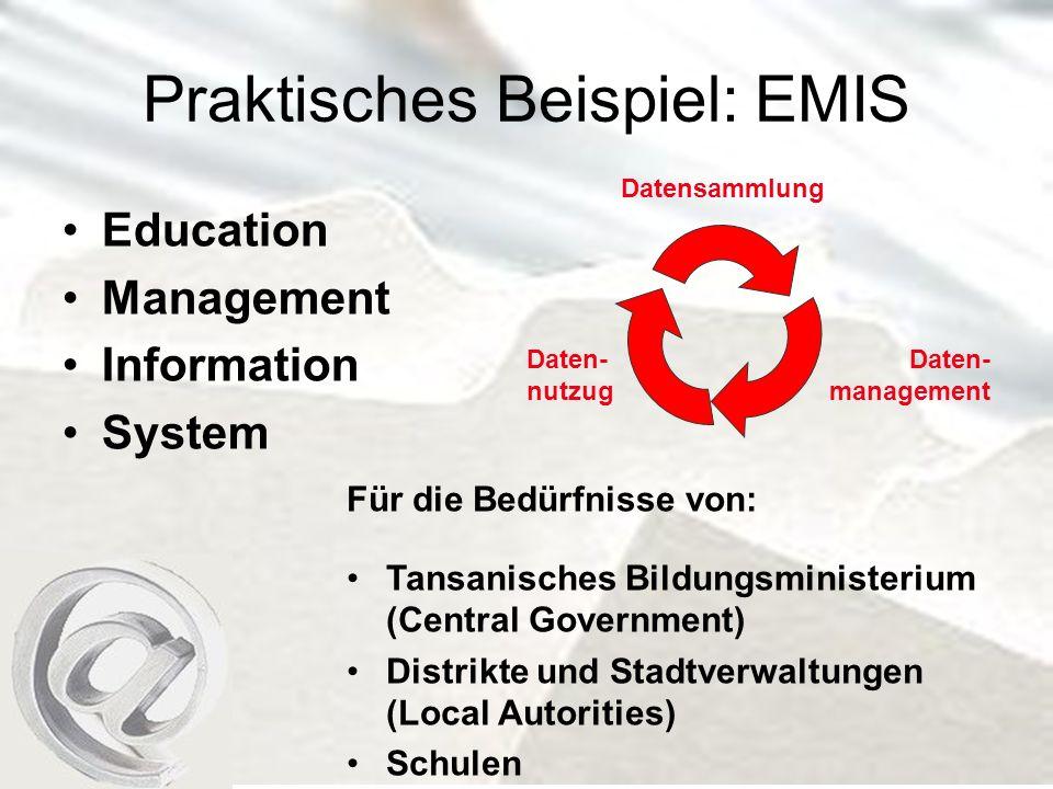 Praktisches Beispiel: EMIS Education Management Information System Daten- nutzug Daten- management Datensammlung Für die Bedürfnisse von: Tansanisches Bildungsministerium (Central Government) Distrikte und Stadtverwaltungen (Local Autorities) Schulen
